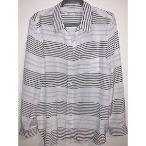 EQUIPMENT | White Striped Silk Top